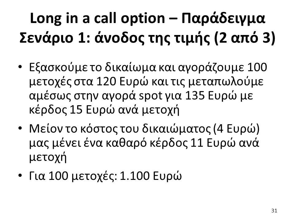 Long in a call option – Παράδειγμα Σενάριο 1: άνοδος της τιμής (2 από 3) Εξασκούμε το δικαίωμα και αγοράζουμε 100 μετοχές στα 120 Ευρώ και τις μεταπωλούμε αμέσως στην αγορά spot για 135 Ευρώ με κέρδος 15 Ευρώ ανά μετοχή Μείον το κόστος του δικαιώματος (4 Ευρώ) μας μένει ένα καθαρό κέρδος 11 Ευρώ ανά μετοχή Για 100 μετοχές: 1.100 Ευρώ 31