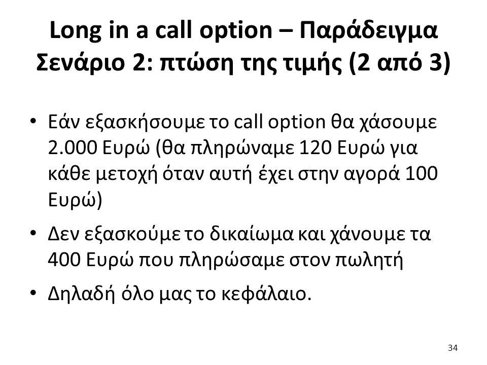 Long in a call option – Παράδειγμα Σενάριο 2: πτώση της τιμής (2 από 3) Εάν εξασκήσουμε το call option θα χάσουμε 2.000 Ευρώ (θα πληρώναμε 120 Ευρώ για κάθε μετοχή όταν αυτή έχει στην αγορά 100 Ευρώ) Δεν εξασκούμε το δικαίωμα και χάνουμε τα 400 Ευρώ που πληρώσαμε στον πωλητή Δηλαδή όλο μας το κεφάλαιο.