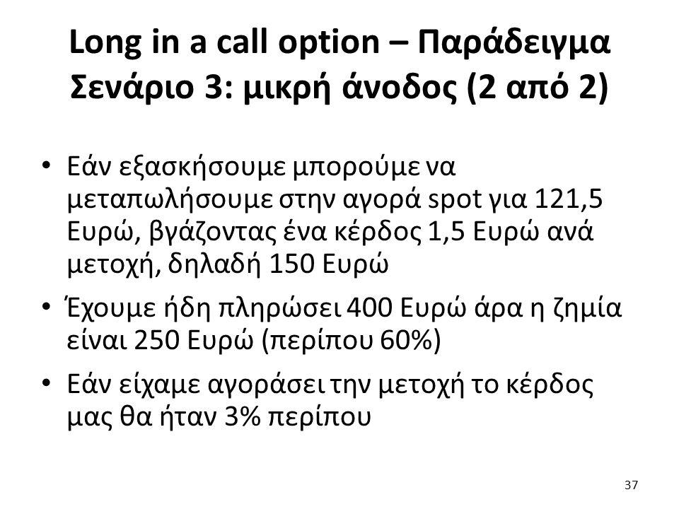 Long in a call option – Παράδειγμα Σενάριο 3: μικρή άνοδος (2 από 2) Εάν εξασκήσουμε μπορούμε να μεταπωλήσουμε στην αγορά spot για 121,5 Ευρώ, βγάζοντας ένα κέρδος 1,5 Ευρώ ανά μετοχή, δηλαδή 150 Ευρώ Έχουμε ήδη πληρώσει 400 Ευρώ άρα η ζημία είναι 250 Ευρώ (περίπου 60%) Εάν είχαμε αγοράσει την μετοχή το κέρδος μας θα ήταν 3% περίπου 37