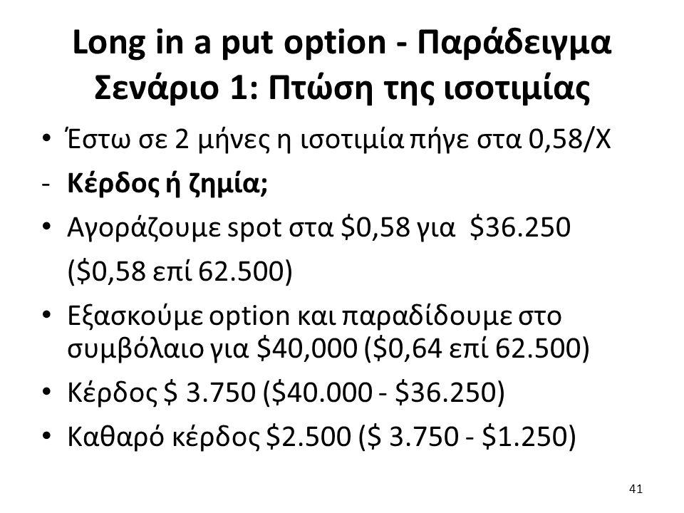 Long in a put option - Παράδειγμα Σενάριο 1: Πτώση της ισοτιμίας Έστω σε 2 μήνες η ισοτιμία πήγε στα 0,58/Χ -Κέρδος ή ζημία; Αγοράζουμε spot στα $0,58 για $36.250 ($0,58 επί 62.500) Εξασκούμε option και παραδίδουμε στο συμβόλαιο για $40,000 ($0,64 επί 62.500) Κέρδος $ 3.750 ($40.000 - $36.250) Καθαρό κέρδος $2.500 ($ 3.750 - $1.250) 41
