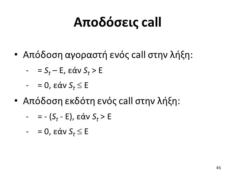 Αποδόσεις call Απόδοση αγοραστή ενός call στην λήξη: -= S t – E, εάν S t > E -= 0, εάν S t  E Απόδοση εκδότη ενός call στην λήξη: -= - (S t - E), εάν S t > E -= 0, εάν S t  E 46
