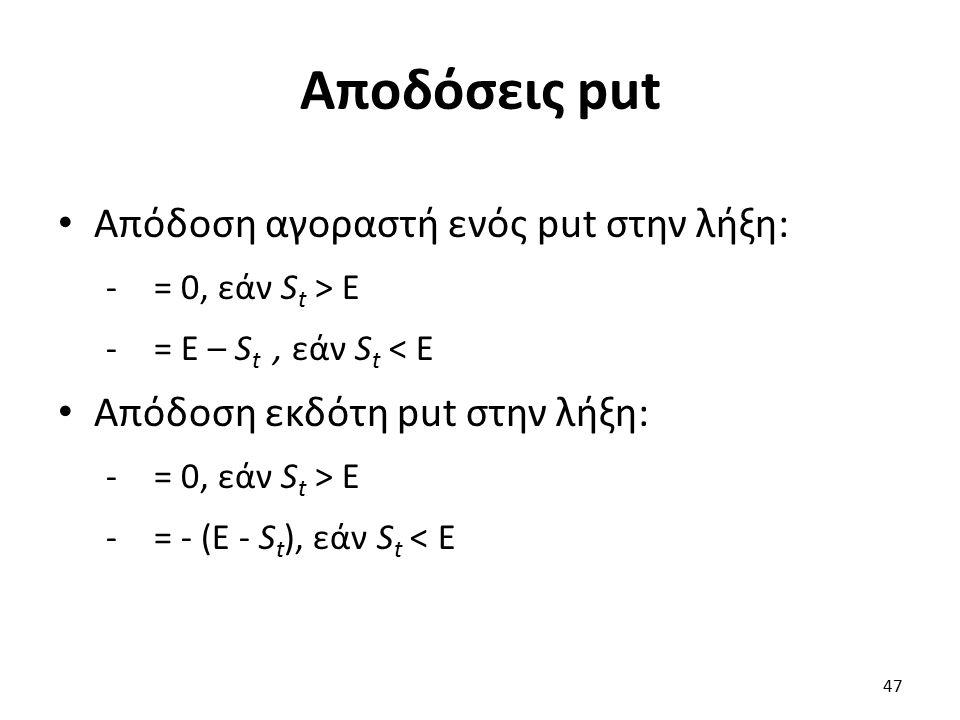 Αποδόσεις put Απόδοση αγοραστή ενός put στην λήξη: -= 0, εάν S t > E -= E – S t, εάν S t < E Απόδοση εκδότη put στην λήξη: -= 0, εάν S t > E -= - (E - S t ), εάν S t < E 47