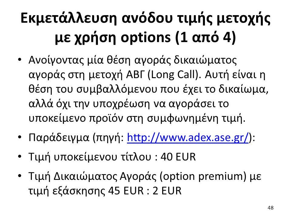 Εκμετάλλευση ανόδου τιμής μετοχής με χρήση options (1 από 4) Ανοίγοντας μία θέση αγοράς δικαιώματος αγοράς στη μετοχή ΑΒΓ (Long Call).