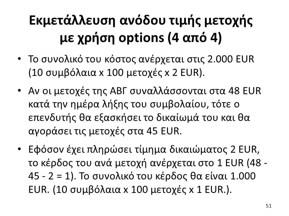 Εκμετάλλευση ανόδου τιμής μετοχής με χρήση options (4 από 4) Το συνολικό του κόστος ανέρχεται στις 2.000 EUR (10 συμβόλαια x 100 μετοχές x 2 EUR).