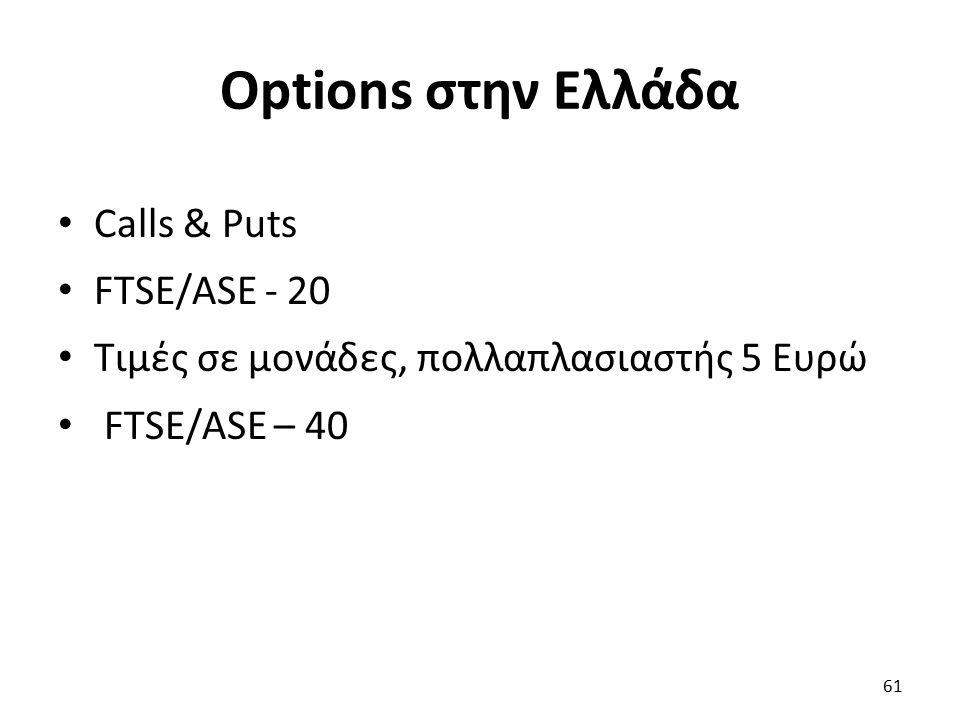 Options στην Ελλάδα Calls & Puts FTSE/ASE - 20 Τιμές σε μονάδες, πολλαπλασιαστής 5 Ευρώ FTSE/ASE – 40 61