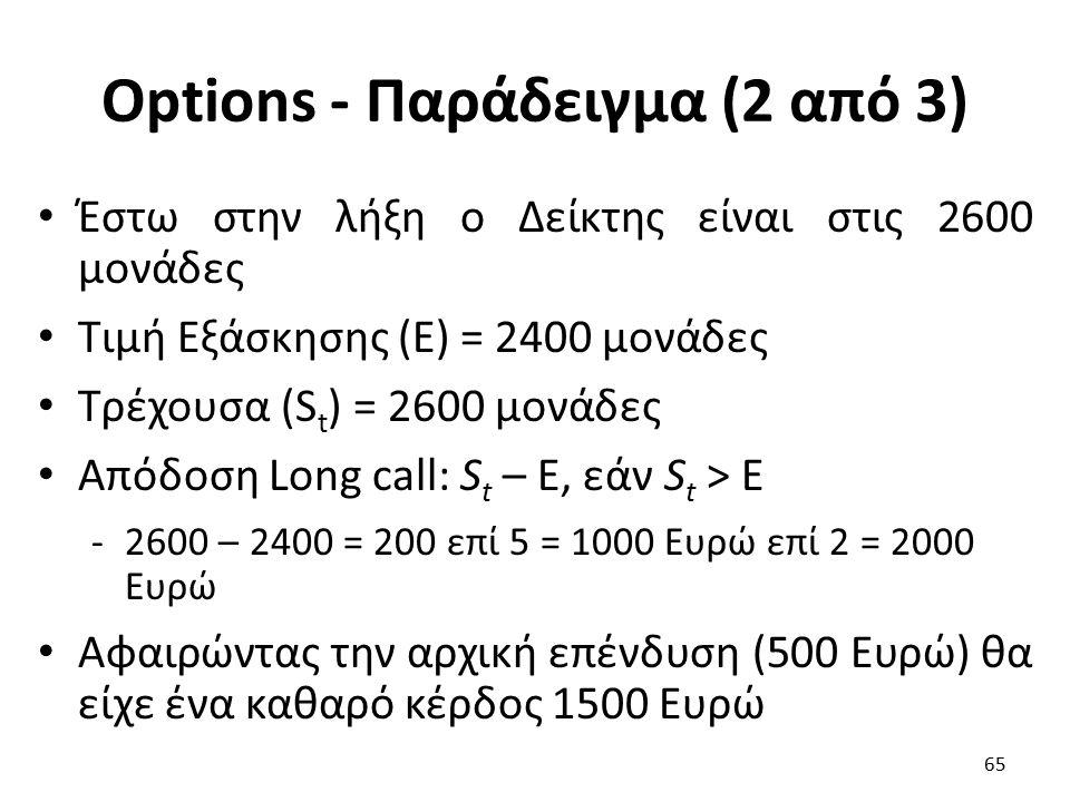 Options - Παράδειγμα (2 από 3) Έστω στην λήξη ο Δείκτης είναι στις 2600 μονάδες Τιμή Εξάσκησης (Ε) = 2400 μονάδες Τρέχουσα (S t ) = 2600 μονάδες Απόδοση Long call: S t – E, εάν S t > E -2600 – 2400 = 200 επί 5 = 1000 Ευρώ επί 2 = 2000 Ευρώ Αφαιρώντας την αρχική επένδυση (500 Ευρώ) θα είχε ένα καθαρό κέρδος 1500 Ευρώ 65