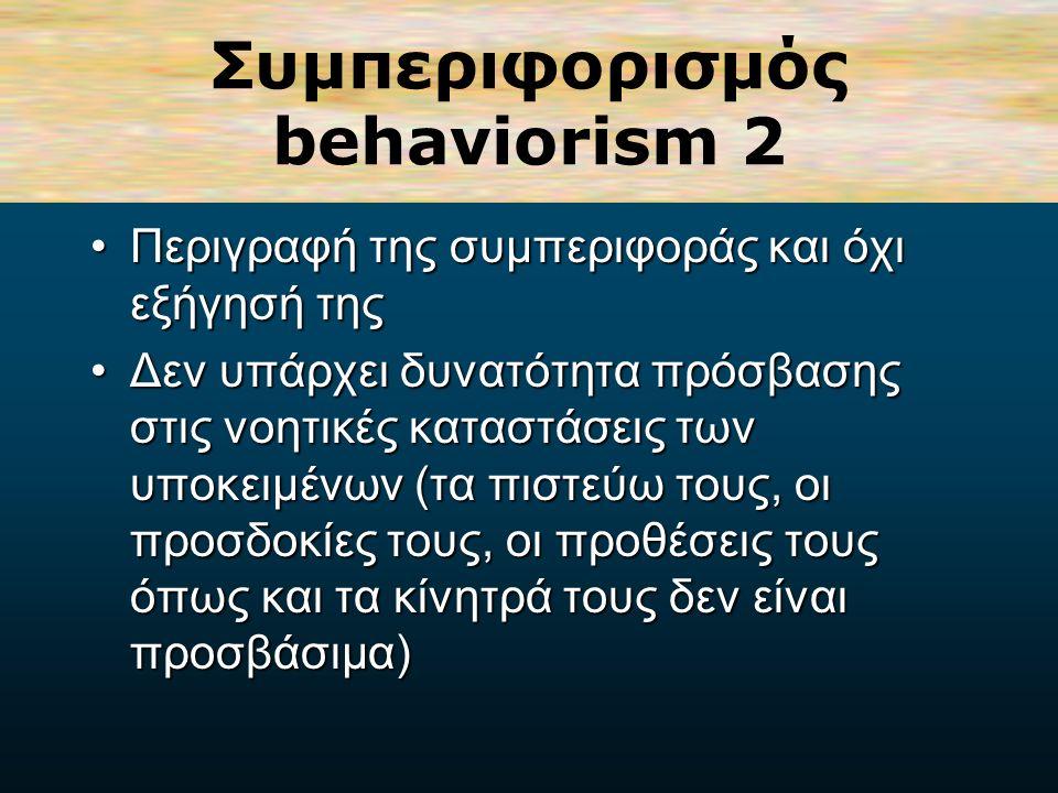 Συμπεριφορισμός behaviorism 1 (θεωρία των συνειρμών - connectionist view of learning)Δίνει έμφαση στην αναμετάδοση της Πληροφορίας και στην τροποποίηση της συμπεριφοράς (θεωρία των συνειρμών - connectionist view of learning).