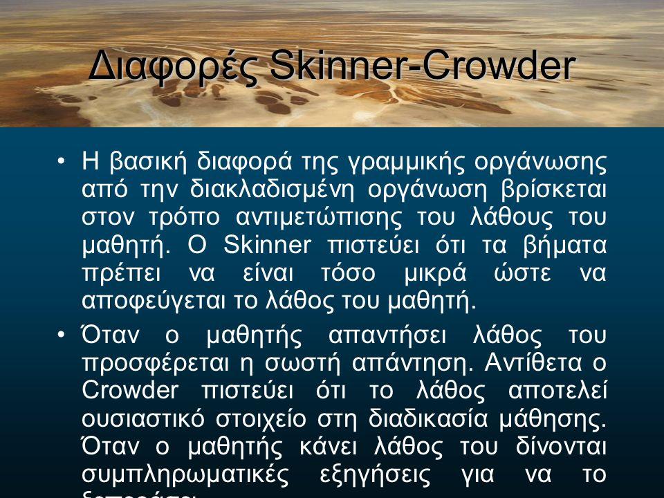 Διακλαδισμένη Οργάνωση Crowder Το χαρακτηριστικό της διακλαδισμένης οργάνωσης του Crowder είναι ότι η απάντηση του μαθητή καθορίζει το τι θα ακολουθήσει.