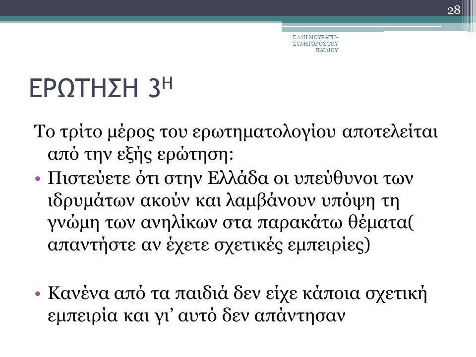 ΕΡΩΤΗΣΗ 3 Η Το τρίτο μέρος του ερωτηματολογίου αποτελείται από την εξής ερώτηση: Πιστεύετε ότι στην Ελλάδα οι υπεύθυνοι των ιδρυμάτων ακούν και λαμβάνουν υπόψη τη γνώμη των ανηλίκων στα παρακάτω θέματα( απαντήστε αν έχετε σχετικές εμπειρίες) Κανένα από τα παιδιά δεν είχε κάποια σχετική εμπειρία και γι' αυτό δεν απάντησαν ΕΛΛΗ ΜΟΥΡΑΤΗ- ΣΥΝΗΓΟΡΟΣ ΤΟΥ ΠΑΙΔΙΟΥ 28