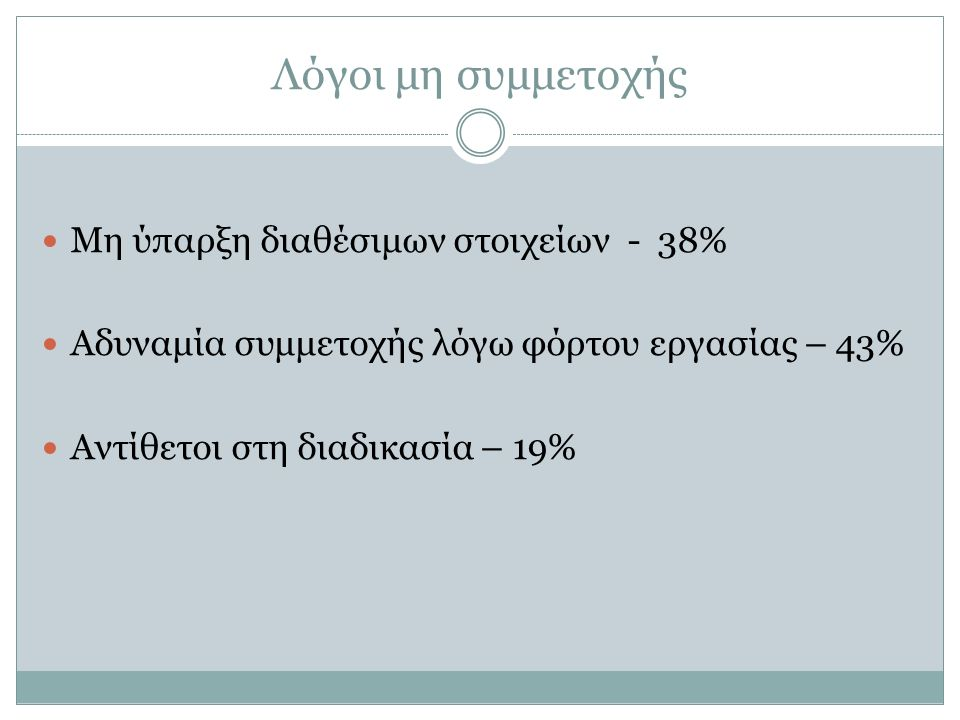 Μη ύπαρξη διαθέσιμων στοιχείων - 38% Αδυναμία συμμετοχής λόγω φόρτου εργασίας – 43% Αντίθετοι στη διαδικασία – 19% Λόγοι μη συμμετοχής