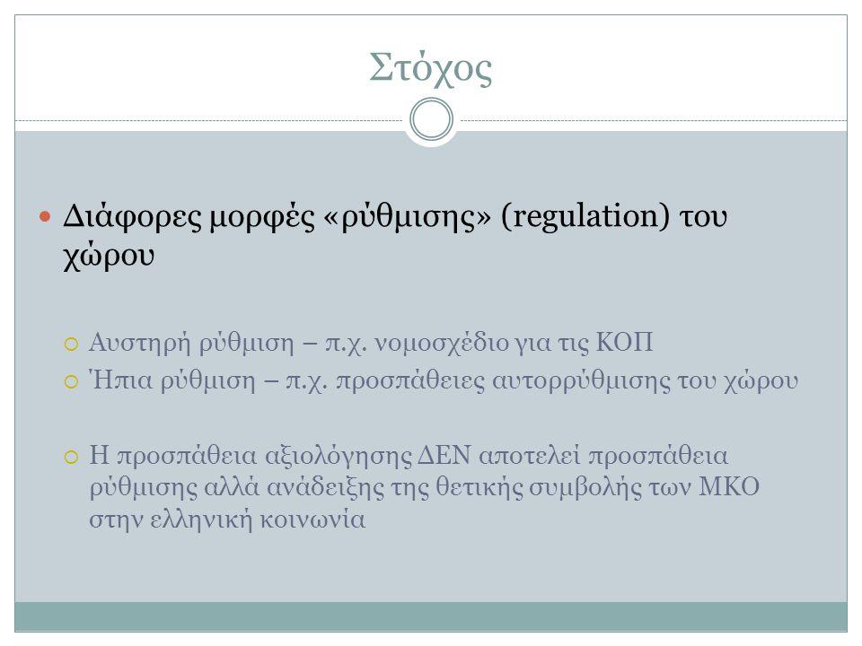 Στόχος Διάφορες μορφές «ρύθμισης» (regulation) του χώρου  Αυστηρή ρύθμιση – π.χ. νομοσχέδιο για τις ΚΟΠ  Ήπια ρύθμιση – π.χ. προσπάθειες αυτορρύθμισ