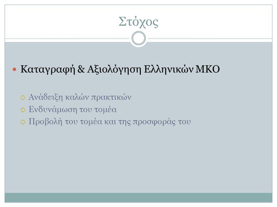 Στόχος Καταγραφή & Αξιολόγηση Ελληνικών ΜΚΟ  Ανάδειξη καλών πρακτικών  Ενδυνάμωση του τομέα  Προβολή του τομέα και της προσφοράς του