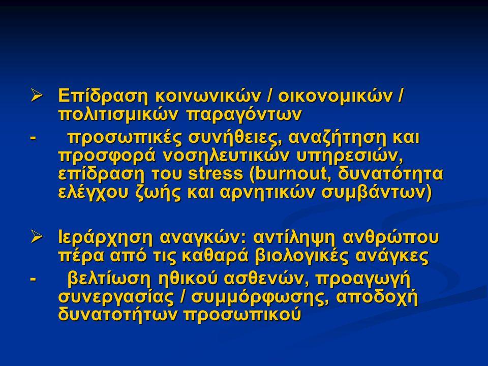  Επίδραση κοινωνικών / οικονομικών / πολιτισμικών παραγόντων - προσωπικές συνήθειες, αναζήτηση και προσφορά νοσηλευτικών υπηρεσιών, επίδραση του stress (burnout, δυνατότητα ελέγχου ζωής και αρνητικών συμβάντων)  Ιεράρχηση αναγκών: αντίληψη ανθρώπου πέρα από τις καθαρά βιολογικές ανάγκες - βελτίωση ηθικού ασθενών, προαγωγή συνεργασίας / συμμόρφωσης, αποδοχή δυνατοτήτων προσωπικού