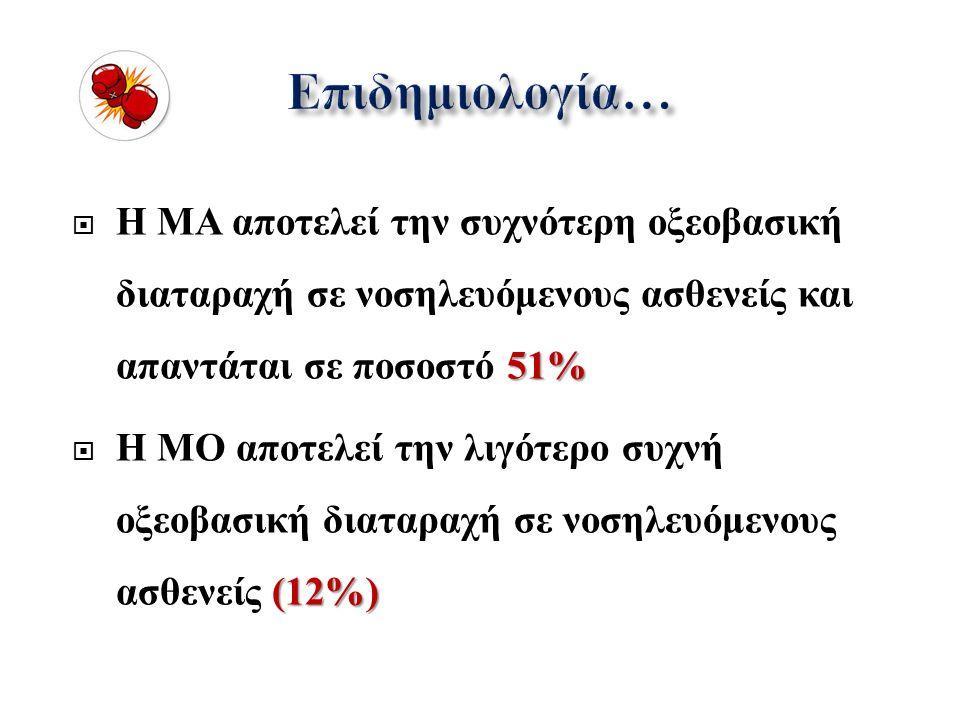 51%  Η ΜΑ αποτελεί την συχνότερη οξεοβασική διαταραχή σε νοσηλευόμενους ασθενείς και απαντάται σε ποσοστό 51% (12%)  Η ΜΟ αποτελεί την λιγότερο συχνή οξεοβασική διαταραχή σε νοσηλευόμενους ασθενείς (12%)