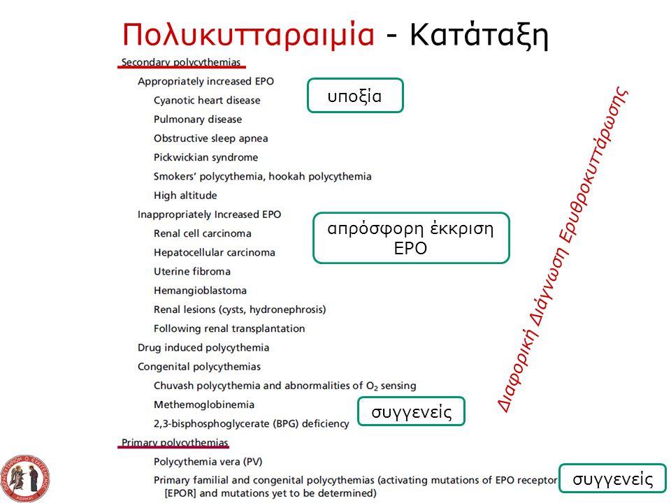 Πολυκυτταραιμία - Κατάταξη Διαφορική Διάγνωση Ερυθροκυττάρωσης υποξία απρόσφορη έκκριση EPO συγγενείς