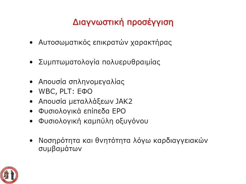 Διαγνωστική προσέγγιση Αυτοσωματικός επικρατών χαρακτήρας Συμπτωματολογία πολυερυθραιμίας Απουσία σπληνομεγαλίας WBC, PLT: ΕΦΟ Απουσία μεταλλάξεων JAK2 Φυσιολογικά επίπεδα EPO Φυσιολογική καμπύλη οξυγόνου Νοσηρότητα και θνητότητα λόγω καρδιαγγειακών συμβαμάτων