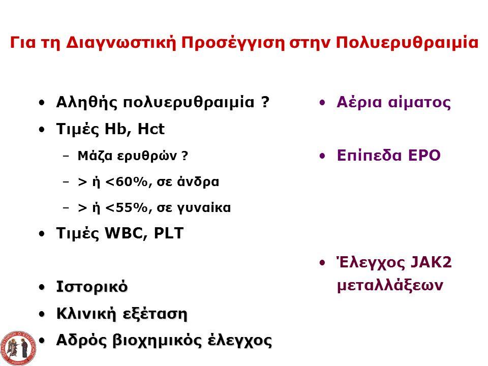 Αληθής πολυερυθραιμία . Τιμές Hb, Hct –Μάζα ερυθρών .