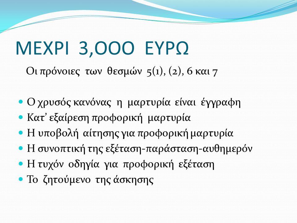 ΜΕΧΡΙ 3,ΟΟΟ ΕΥΡΩ Οι πρόνοιες των θεσμών 5(1), (2), 6 και 7 Ο χρυσός κανόνας η μαρτυρία είναι έγγραφη Κατ' εξαίρεση προφορική μαρτυρία Η υποβολή αίτησης για προφορική μαρτυρία Η συνοπτική της εξέταση-παράσταση-αυθημερόν Η τυχόν οδηγία για προφορική εξέταση Το ζητούμενο της άσκησης