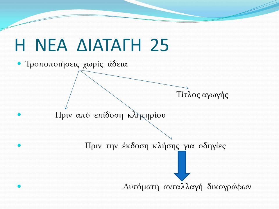 Η ΝΕΑ ΔΙΑΤΑΓΗ 25 Τροποποιήσεις χωρίς άδεια Τίτλος αγωγής Πριν από επίδοση κλητηρίου Πριν την έκδοση κλήσης για οδηγίες Αυτόματη ανταλλαγή δικογράφων