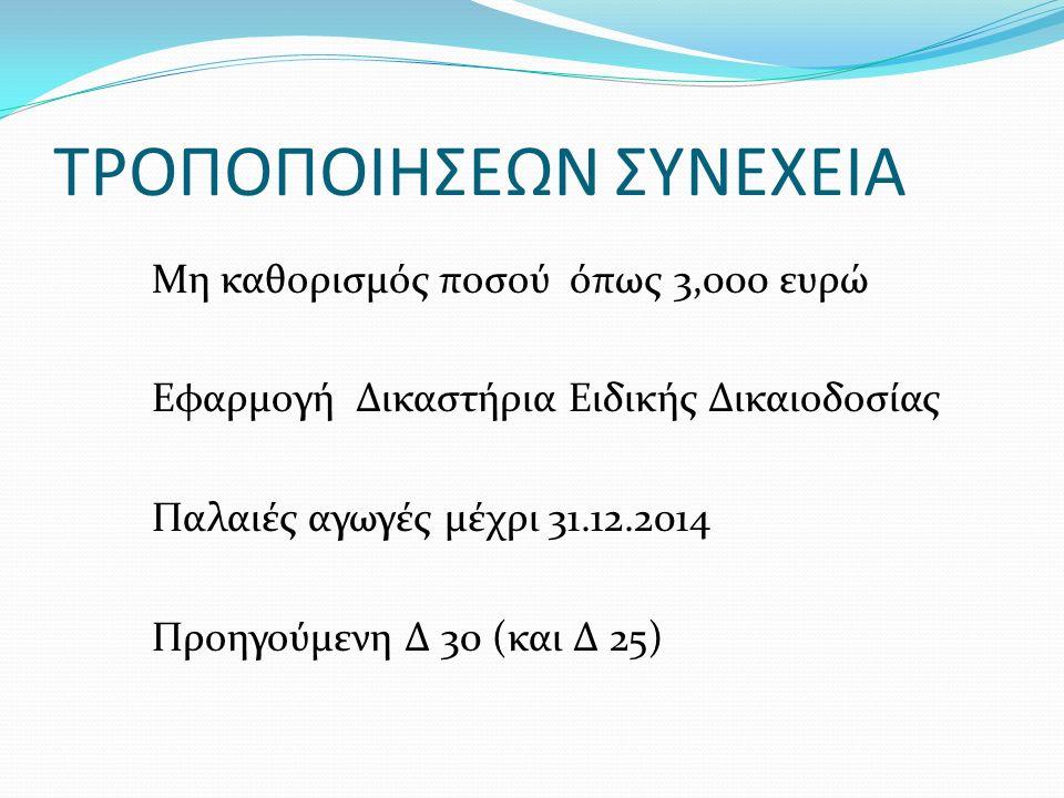 ΤΡΟΠΟΠΟΙΗΣΕΩΝ ΣΥΝΕΧΕΙΑ Μη καθορισμός ποσού όπως 3,000 ευρώ Εφαρμογή Δικαστήρια Ειδικής Δικαιοδοσίας Παλαιές αγωγές μέχρι 31.12.2014 Προηγούμενη Δ 30 (και Δ 25)