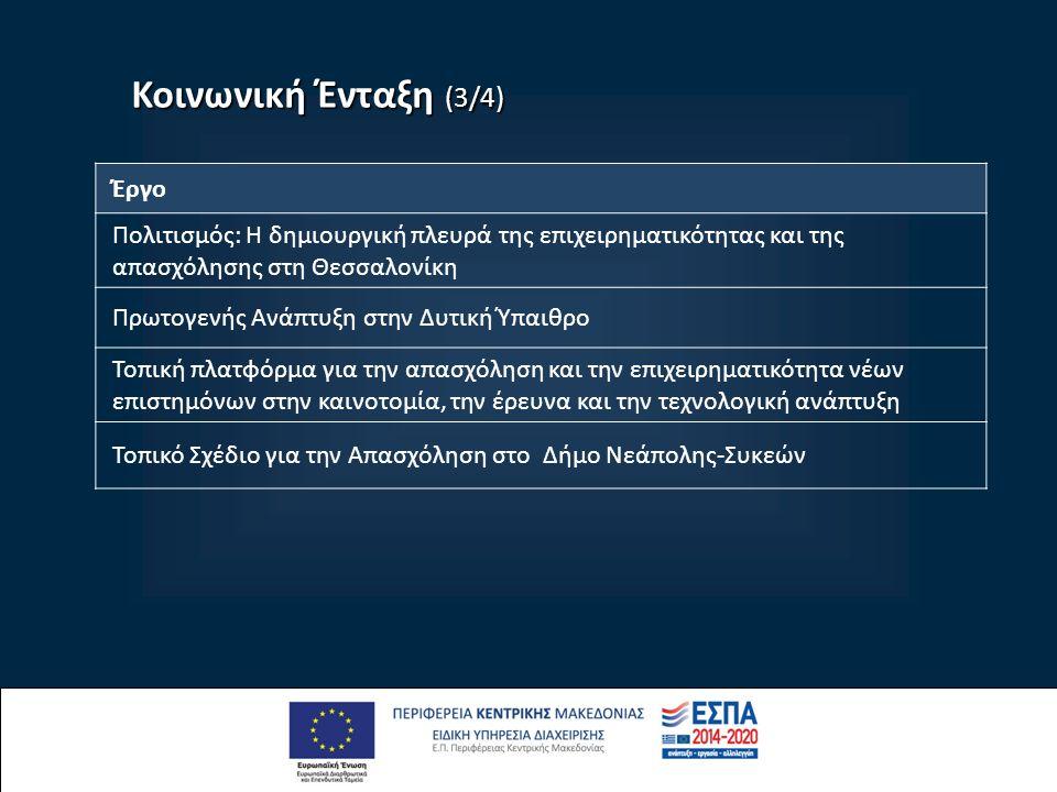 Κοινωνική Ένταξη (3/4) Έργο Πολιτισμός: Η δημιουργική πλευρά της επιχειρηματικότητας και της απασχόλησης στη Θεσσαλονίκη Πρωτογενής Ανάπτυξη στην Δυτική Ύπαιθρο Τοπική πλατφόρμα για την απασχόληση και την επιχειρηματικότητα νέων επιστημόνων στην καινοτομία, την έρευνα και την τεχνολογική ανάπτυξη Τοπικό Σχέδιο για την Απασχόληση στο Δήμο Νεάπολης-Συκεών