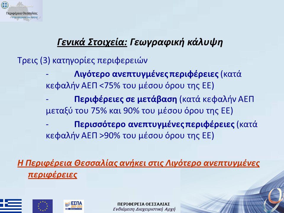 ΠΕΡΙΦΕΡΕΙΑ ΘΕΣΣΑΛΙΑΣ Ενδιάμεση Διαχειριστική Αρχή Το χρηματοδοτικό πλαίσιο για την περίοδο 2014-2020 ( € σε τρέχουσες τιμές) % Περιφέρειες Λιγότερο Ανεπτυγμένες 7.201.034.09534,6% Περιφέρειες Μετάβασης 2.360.822.95711,3% Περιφέρειες Περισσότερο Ανεπτυγμένες 2.595.586.60912,5% Ταμείο Συνοχής 3.249.836.72915,6% Ταμείο Συνοχής (στο Ταμείο Υποδομών CEF) 580.000.0002,8% Ταμείο Αγροτικής Ανάπτυξης 4.200.000.00020,2% Ταμείο Θάλασσας και Αλιείας 250.000.0001,2% Ευρωπαϊκή Εδαφική Συνεργασία 231.700.0001,1% Πρωτοβουλία για τη Νεανική Απασχόληση 163.000.0000,8% ΣΥΝΟΛΟ 20.831.980.390100,0%