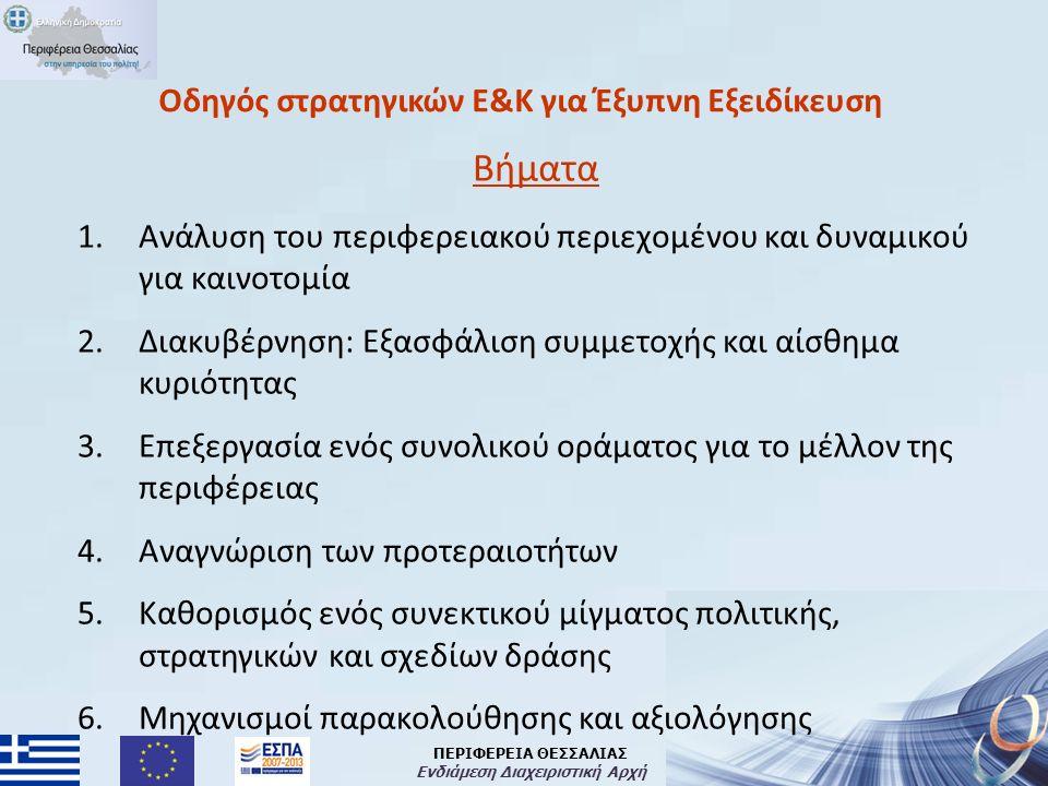 ΠΕΡΙΦΕΡΕΙΑ ΘΕΣΣΑΛΙΑΣ Ενδιάμεση Διαχειριστική Αρχή Οδηγός στρατηγικών Ε&Κ για Έξυπνη Εξειδίκευση Βήματα 1.Ανάλυση του περιφερειακού περιεχομένου και δυναμικού για καινοτομία 2.Διακυβέρνηση: Εξασφάλιση συμμετοχής και αίσθημα κυριότητας 3.Επεξεργασία ενός συνολικού οράματος για το μέλλον της περιφέρειας 4.Αναγνώριση των προτεραιοτήτων 5.Καθορισμός ενός συνεκτικού μίγματος πολιτικής, στρατηγικών και σχεδίων δράσης 6.Μηχανισμοί παρακολούθησης και αξιολόγησης