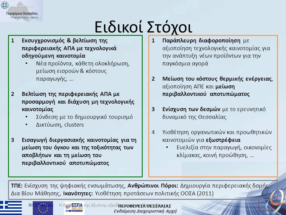 ΠΕΡΙΦΕΡΕΙΑ ΘΕΣΣΑΛΙΑΣ Ενδιάμεση Διαχειριστική Αρχή Ειδικοί Στόχοι RIS3Thessaly 36 Η διεργασία της έξυπνης εξειδίκευσης στη Θεσσαλία 1Εκσυγχρονισμός & βελτίωση της περιφερειακής ΑΠΑ με τεχνολογικά οδηγούμενη καινοτομία Νέα προϊόντα, κάθετη ολοκλήρωση, μείωση εισροών & κόστους παραγωγής,...