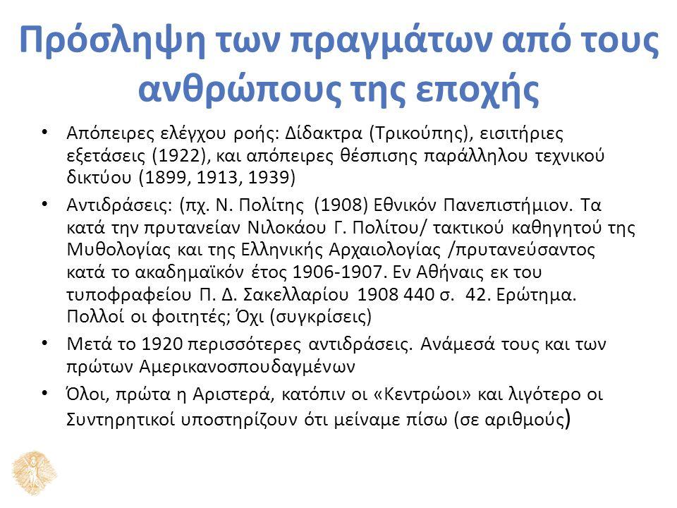Πρόσληψη των πραγμάτων από τους ανθρώπους της εποχής Απόπειρες ελέγχου ροής: Δίδακτρα (Τρικούπης), εισιτήριες εξετάσεις (1922), και απόπειρες θέσπισης παράλληλου τεχνικού δικτύου (1899, 1913, 1939) Αντιδράσεις: (πχ.