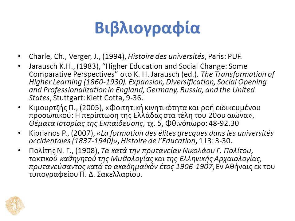 Βιβλιογραφία Charle, Ch., Verger, J., (1994), Histoire des universités, Paris: PUF.
