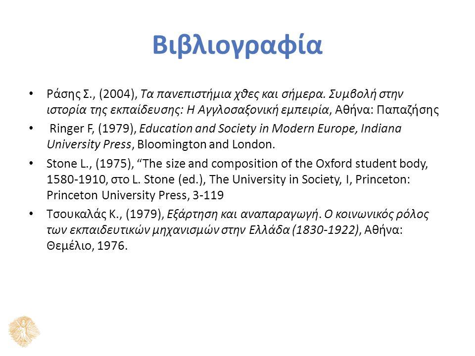 Βιβλιογραφία Ράσης Σ., (2004), Τα πανεπιστήμια χθες και σήμερα.