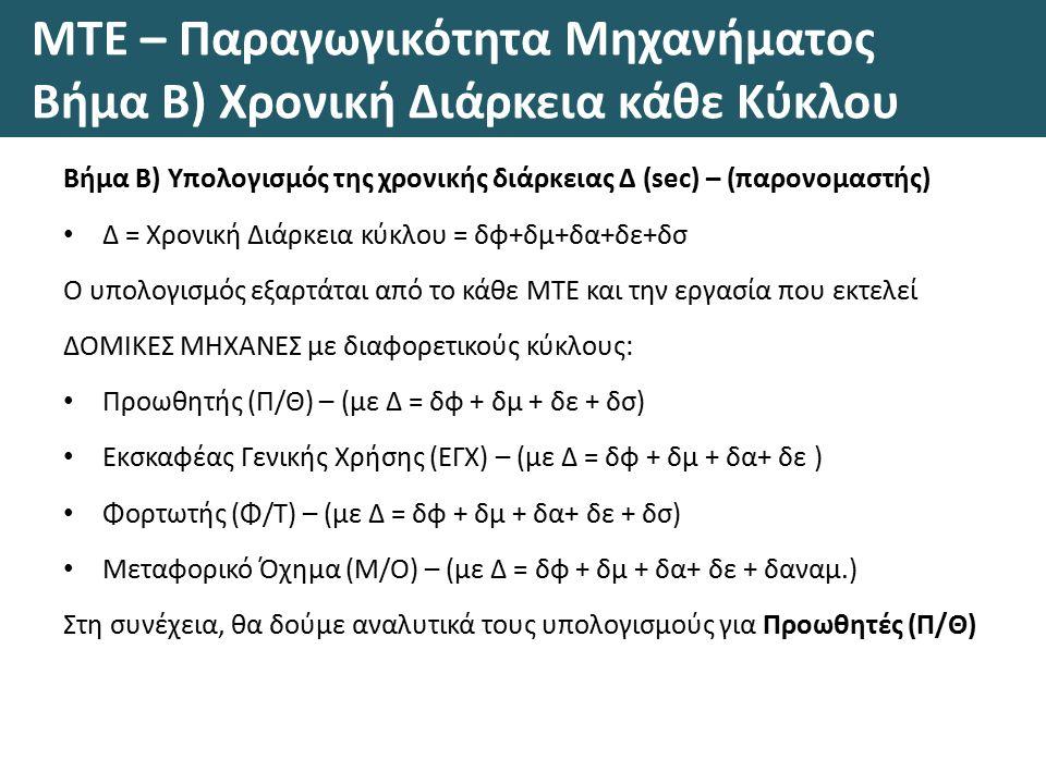 ΜΤΕ – Παραγωγικότητα Μηχανήματος Βήμα Β) Χρονική Διάρκεια κάθε Κύκλου Βήμα Β) Υπολογισμός της χρονικής διάρκειας Δ (sec) – (παρονομαστής) Δ = Χρονική Διάρκεια κύκλου = δφ+δμ+δα+δε+δσ Ο υπολογισμός εξαρτάται από το κάθε ΜΤΕ και την εργασία που εκτελεί ΔΟΜΙΚΕΣ ΜΗΧΑΝΕΣ με διαφορετικούς κύκλους: Προωθητής (Π/Θ) – (με Δ = δφ + δμ + δε + δσ) Εκσκαφέας Γενικής Χρήσης (ΕΓΧ) – (με Δ = δφ + δμ + δα+ δε ) Φορτωτής (Φ/Τ) – (με Δ = δφ + δμ + δα+ δε + δσ) Μεταφορικό Όχημα (Μ/Ο) – (με Δ = δφ + δμ + δα+ δε + δαναμ.) Στη συνέχεια, θα δούμε αναλυτικά τους υπολογισμούς για Προωθητές (Π/Θ)