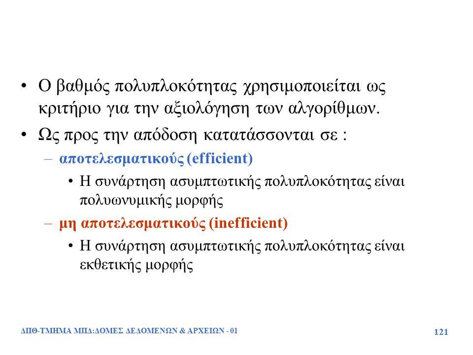 ΔΠΘ-ΤΜΗΜΑ ΜΠΔ:ΔΟΜΕΣ ΔΕΔΟΜΕΝΩΝ & ΑΡΧΕΙΩΝ - 01 121 Ο βαθμός πολυπλοκότητας χρησιμοποιείται ως κριτήριο για την αξιολόγηση των αλγορίθμων. Ως προς την απ