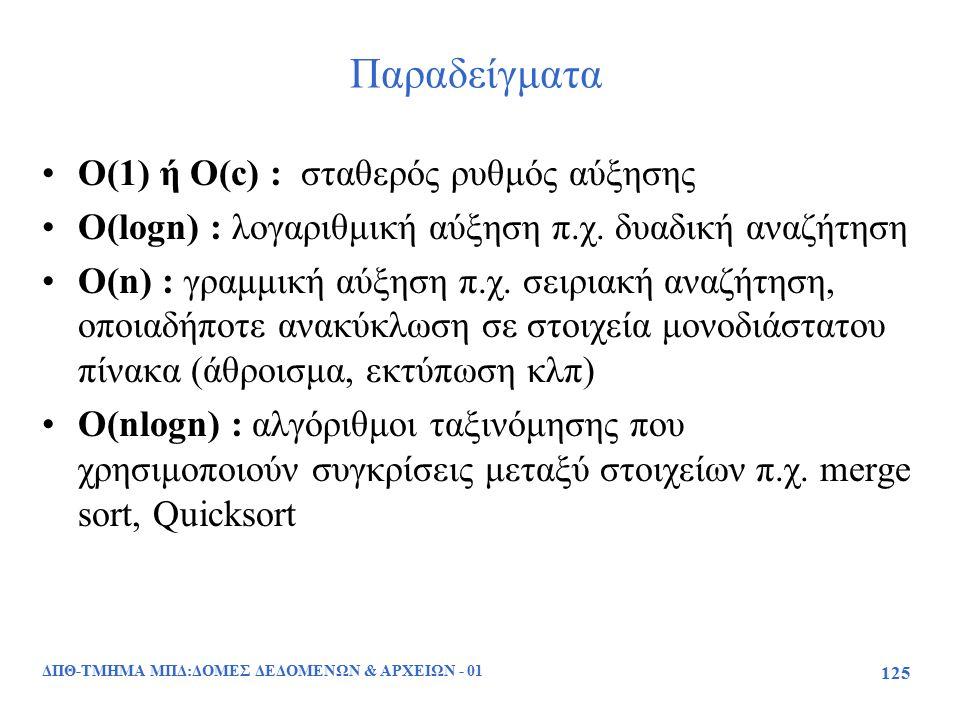 ΔΠΘ-ΤΜΗΜΑ ΜΠΔ:ΔΟΜΕΣ ΔΕΔΟΜΕΝΩΝ & ΑΡΧΕΙΩΝ - 01 125 Παραδείγματα O(1) ή O(c) : σταθερός ρυθμός αύξησης O(lοgn) : λογαριθμική αύξηση π.χ. δυαδική αναζήτησ