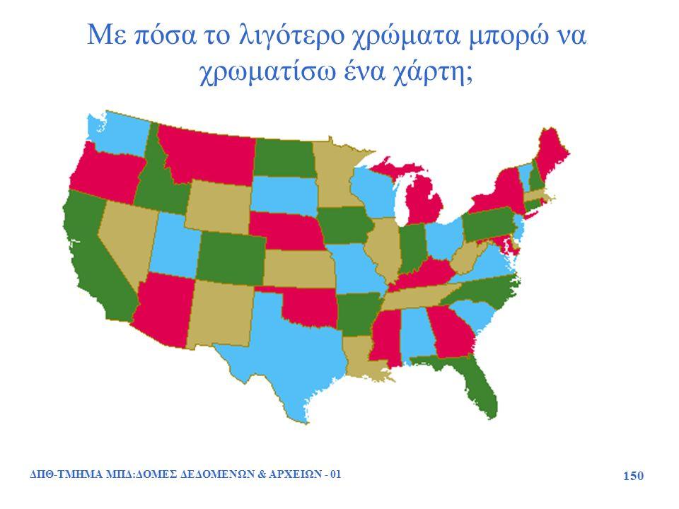 Με πόσα το λιγότερο χρώματα μπορώ να χρωματίσω ένα χάρτη; ΔΠΘ-ΤΜΗΜΑ ΜΠΔ:ΔΟΜΕΣ ΔΕΔΟΜΕΝΩΝ & ΑΡΧΕΙΩΝ - 01 150