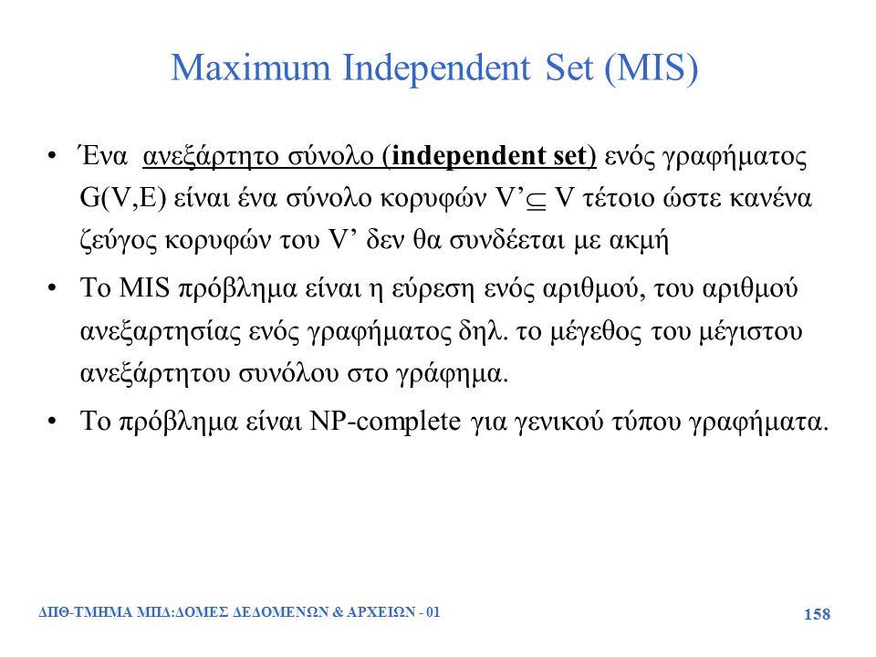 ΔΠΘ-ΤΜΗΜΑ ΜΠΔ:ΔΟΜΕΣ ΔΕΔΟΜΕΝΩΝ & ΑΡΧΕΙΩΝ - 01 158 Maximum Independent Set (MIS) Ένα ανεξάρτητο σύνολο (independent set) ενός γραφήματος G(V,E) είναι έν