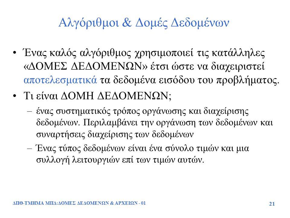 ΔΠΘ-ΤΜΗΜΑ ΜΠΔ:ΔΟΜΕΣ ΔΕΔΟΜΕΝΩΝ & ΑΡΧΕΙΩΝ - 01 21 Αλγόριθμοι & Δομές Δεδομένων Ένας καλός αλγόριθμος χρησιμοποιεί τις κατάλληλες «ΔΟΜΕΣ ΔΕΔΟΜΕΝΩΝ» έτσι