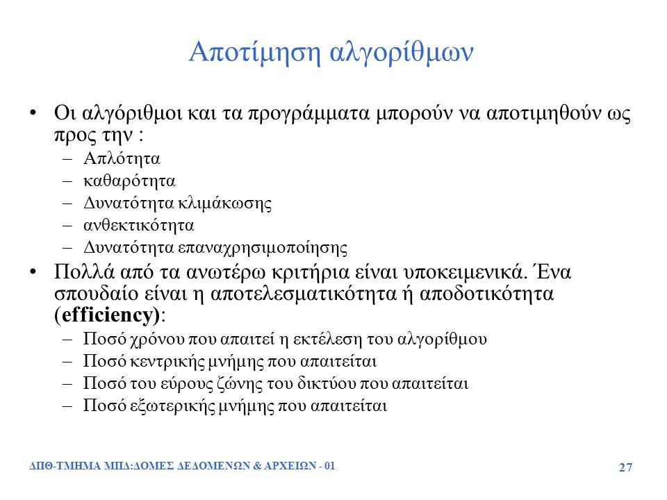 ΔΠΘ-ΤΜΗΜΑ ΜΠΔ:ΔΟΜΕΣ ΔΕΔΟΜΕΝΩΝ & ΑΡΧΕΙΩΝ - 01 27 Αποτίμηση αλγορίθμων Οι αλγόριθμοι και τα προγράμματα μπορούν να αποτιμηθούν ως προς την : –Απλότητα –