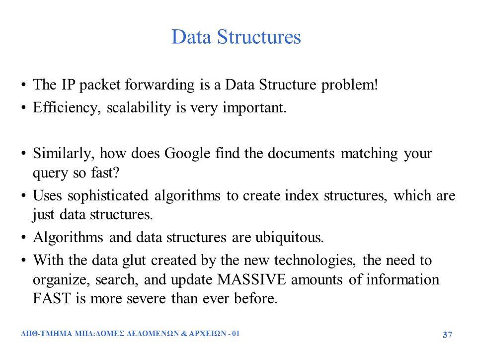 ΔΠΘ-ΤΜΗΜΑ ΜΠΔ:ΔΟΜΕΣ ΔΕΔΟΜΕΝΩΝ & ΑΡΧΕΙΩΝ - 01 37 Data Structures The IP packet forwarding is a Data Structure problem! Efficiency, scalability is very