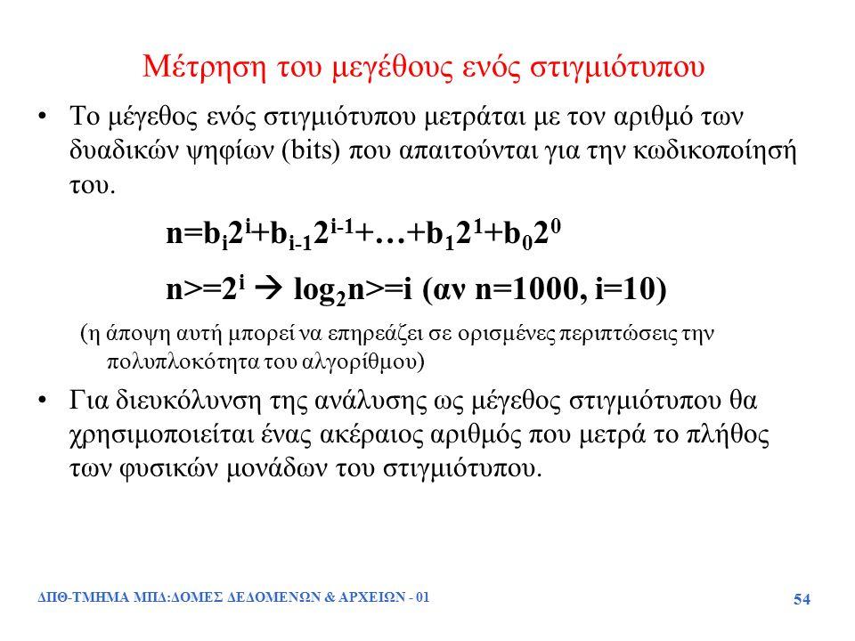 ΔΠΘ-ΤΜΗΜΑ ΜΠΔ:ΔΟΜΕΣ ΔΕΔΟΜΕΝΩΝ & ΑΡΧΕΙΩΝ - 01 54 Μέτρηση του μεγέθους ενός στιγμιότυπου Το μέγεθος ενός στιγμιότυπου μετράται με τον αριθμό των δυαδικώ