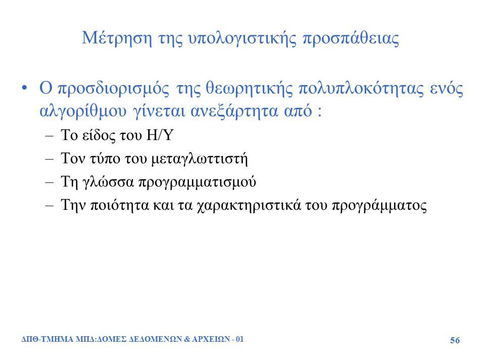 ΔΠΘ-ΤΜΗΜΑ ΜΠΔ:ΔΟΜΕΣ ΔΕΔΟΜΕΝΩΝ & ΑΡΧΕΙΩΝ - 01 56 Μέτρηση της υπολογιστικής προσπάθειας Ο προσδιορισμός της θεωρητικής πολυπλοκότητας ενός αλγορίθμου γί