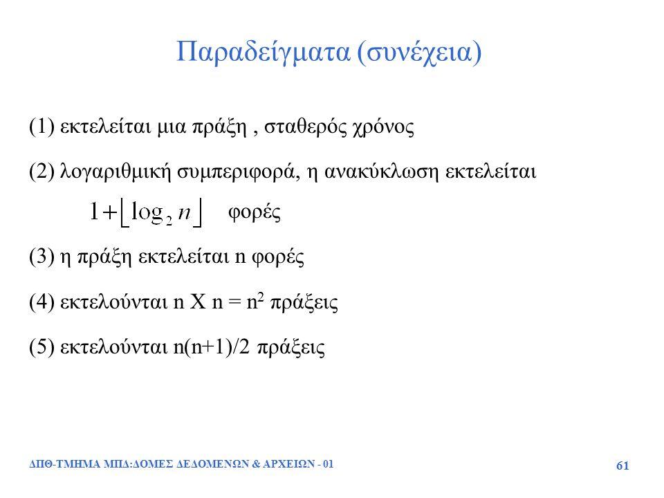 ΔΠΘ-ΤΜΗΜΑ ΜΠΔ:ΔΟΜΕΣ ΔΕΔΟΜΕΝΩΝ & ΑΡΧΕΙΩΝ - 01 61 Παραδείγματα (συνέχεια) (1) εκτελείται μια πράξη, σταθερός χρόνος (2) λογαριθμική συμπεριφορά, η ανακύ