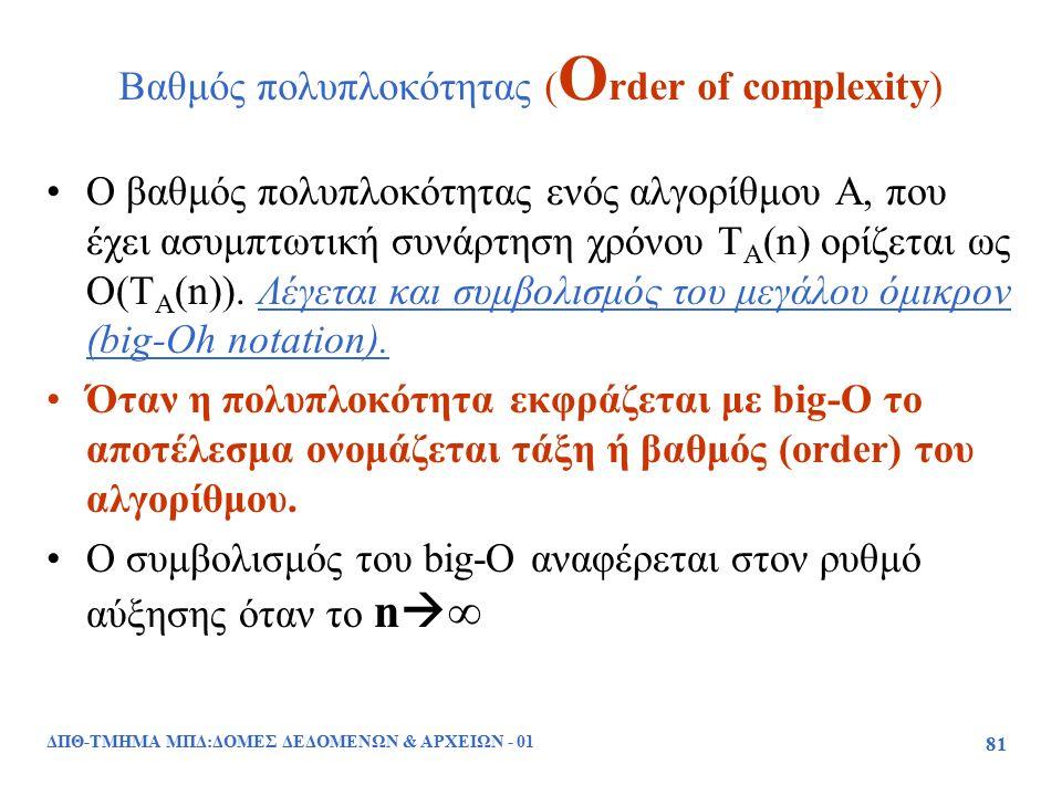 ΔΠΘ-ΤΜΗΜΑ ΜΠΔ:ΔΟΜΕΣ ΔΕΔΟΜΕΝΩΝ & ΑΡΧΕΙΩΝ - 01 81 Βαθμός πολυπλοκότητας ( O rder of complexity) Ο βαθμός πολυπλοκότητας ενός αλγορίθμου Α, που έχει ασυμ