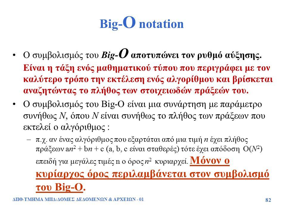 ΔΠΘ-ΤΜΗΜΑ ΜΠΔ:ΔΟΜΕΣ ΔΕΔΟΜΕΝΩΝ & ΑΡΧΕΙΩΝ - 01 82 Big- O notation Ο συμβολισμός του Big- O αποτυπώνει τον ρυθμό αύξησης. Είναι η τάξη ενός μαθηματικού τ