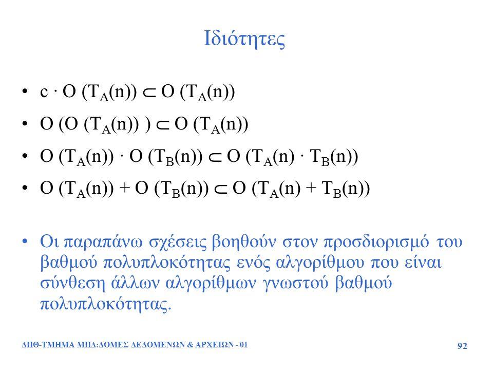 ΔΠΘ-ΤΜΗΜΑ ΜΠΔ:ΔΟΜΕΣ ΔΕΔΟΜΕΝΩΝ & ΑΡΧΕΙΩΝ - 01 92 Ιδιότητες c · O (T A (n))  O (T A (n)) O (O (T A (n)) )  O (T A (n)) O (T A (n)) · O (T B (n))  Ο (