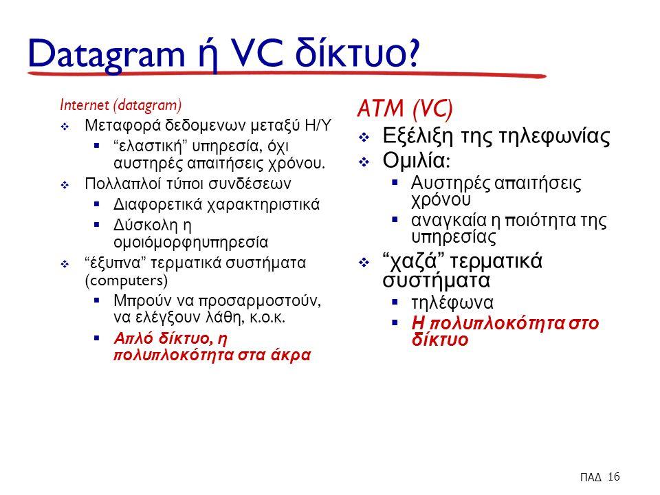 Datagram ή VC δίκτυο .