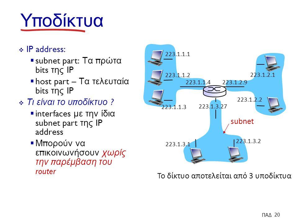 Υ π οδίκτυα  IP address:  subnet part: Τα π ρώτα bits της IP  host part – Τα τελευταία bits της IP  Τι είναι το υ π οδίκτυο .