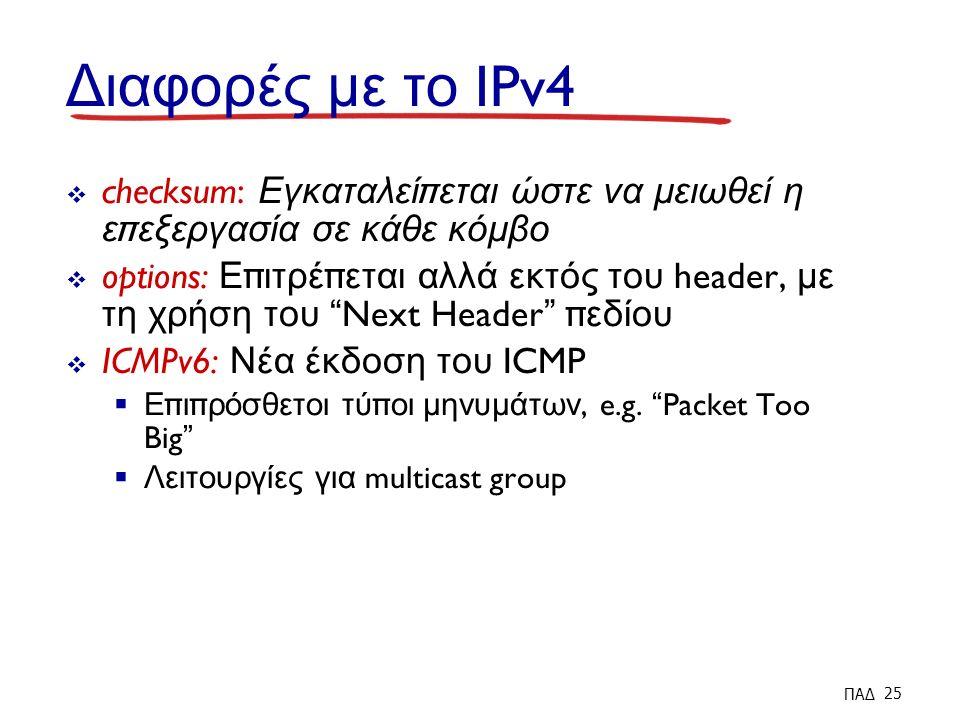 Διαφορές με το IPv4  checksum: Εγκαταλεί π εται ώστε να μειωθεί η ε π εξεργασία σε κάθε κόμβο  options: Ε π ιτρέ π εται αλλά εκτός του header, με τη χρήση του Next Header π εδίου  ICMPv6: Νέα έκδοση του ICMP  Ε π ι π ρόσθετοι τύ π οι μηνυμάτων, e.g.