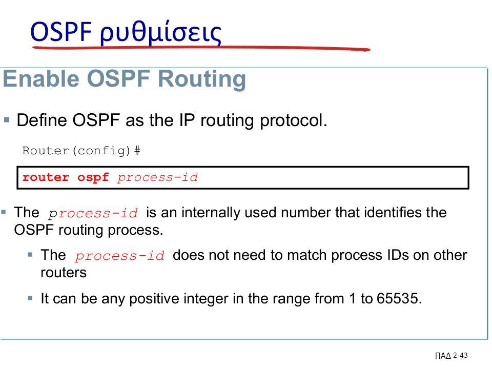 ΠΑΔ 2-43 OSPF ρυθμίσεις