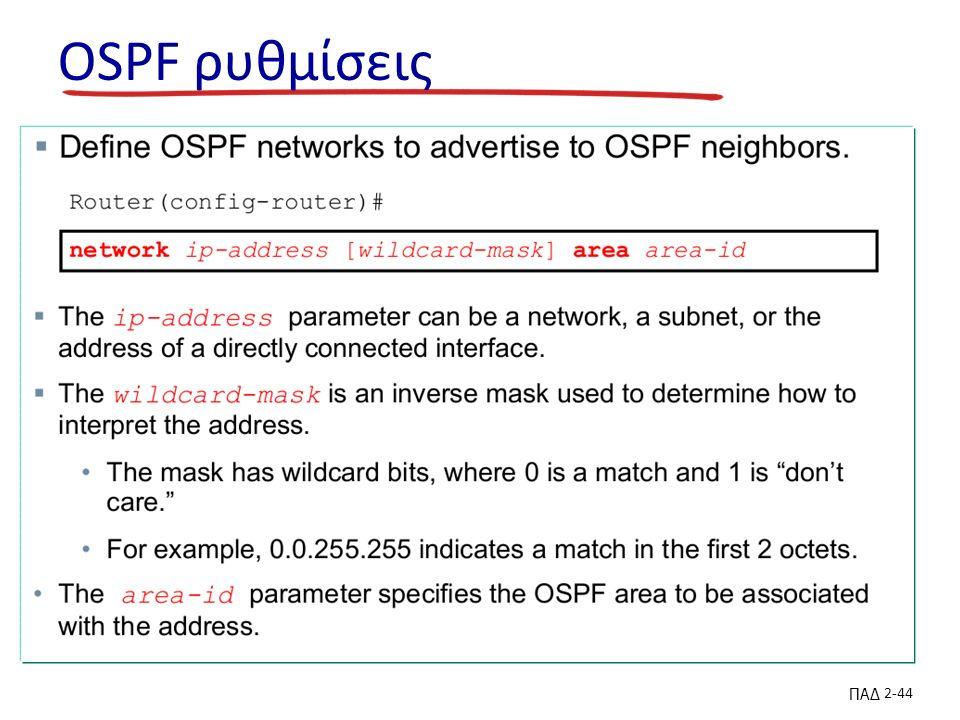 ΠΑΔ 2-44 OSPF ρυθμίσεις